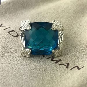 David Yurman 15mm Hampton Bl Topaz Cushion On Poin